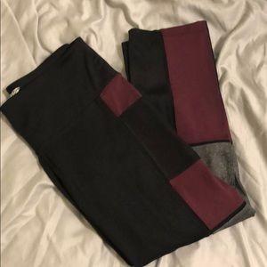 Black, Maroon & Gray Workout Capris Pants